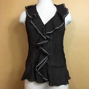 Sunny Leigh Brown Ruffled Sleeveless Blouse